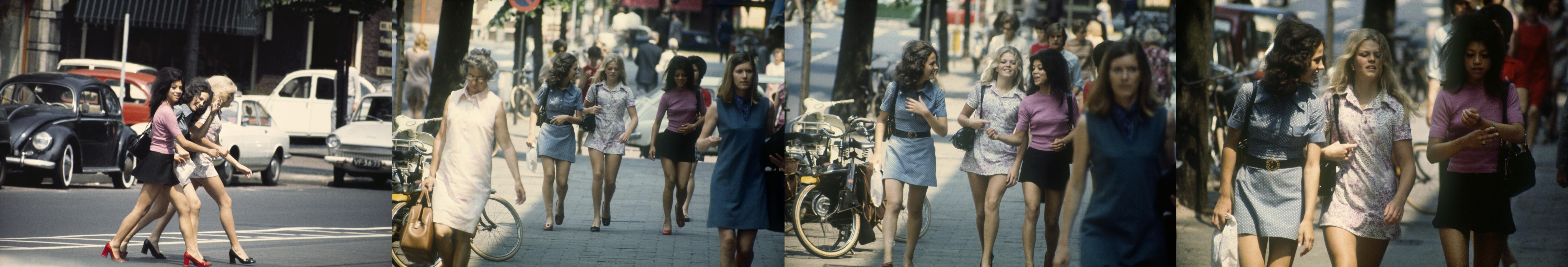 De vermoedelijke choreografie van de foto van de drie jonge vrouwen: het begon met de oversteek en pas daarna volgden nog drie opnamen van de meisjes op de stoep.