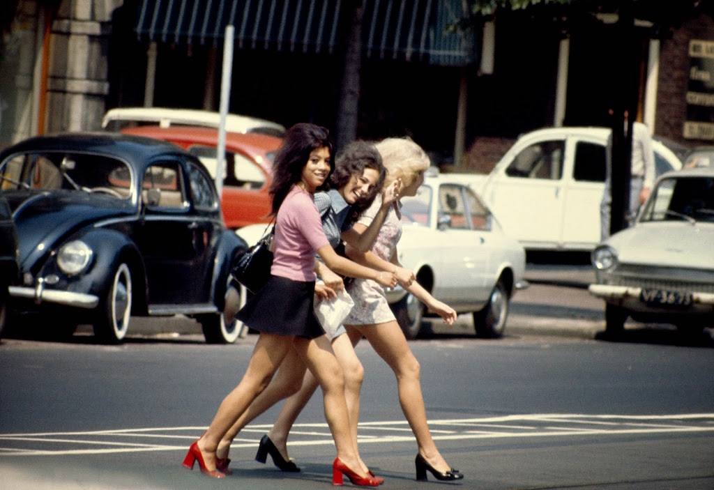 Three Women Walking on the Beethoven Street in Amsterdam, 1967